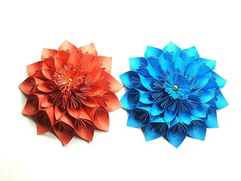Origami Paper Flower Tutorial |Giant Paper flowers for Home, Wall, Party and Wedding decoration