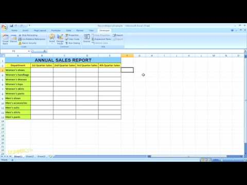 How to Record a Macro in Excel 2007 For Dummies