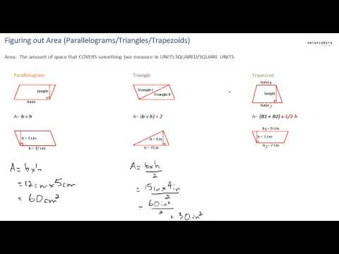 Finding areas of parallelograms, triangles, trapezoids