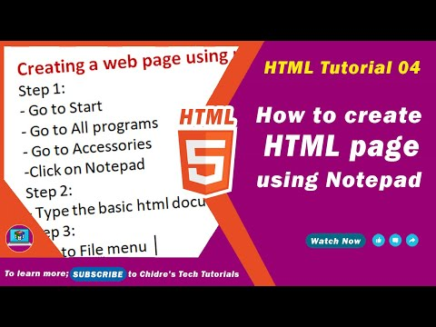 HTML video tutorial - 04 - Creating a web page using notepad