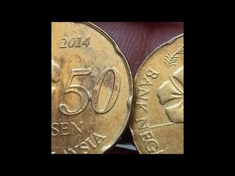 MALAYSIAN COINS 50 CENTS ERROR 2014 - 2PCS WITH EXTRA METAL ON THE REVERSE