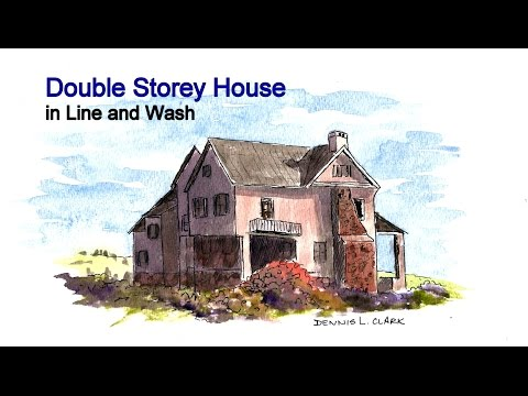Line and wash watercolor painting tutorial - House