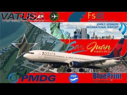 Delta Flying to San Juan, Puerto Rico Before Hurricane hits - PMDG 737NGX on Vatsim FSDT KJFK - TJSJ