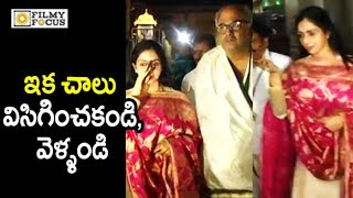 Sridevi Irritated by Media at Tirumala    SriDevi Visits Tirumala with Husband Boney Kapoor