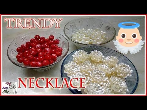 #175 How To Make Pearl Beaded Necklace    Diy    Jewellery Making    Art    New Design