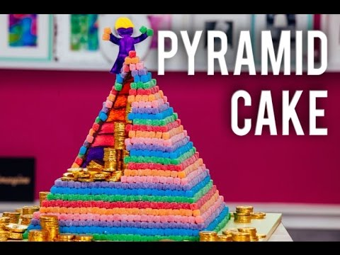 How to Make a PYRAMID CAKE with a Surprise Inside! 6 Different Cake Colors & Chocolate Ganache!