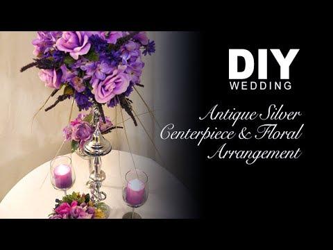 Antique Silver Centerpiece & Floral Arrangement