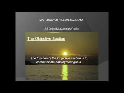 Objective/Summary/Profile - طريقة كتابة الهدف الوظيفى