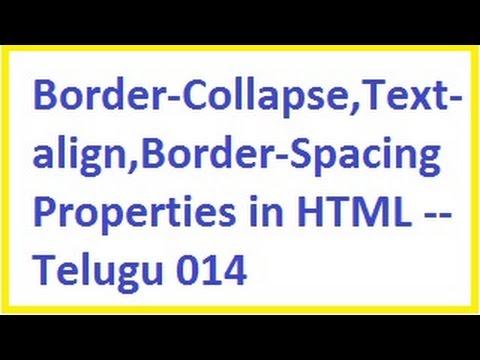 Border collapse, Text align, Border Spacing properties in HTML  --  Telugu 14