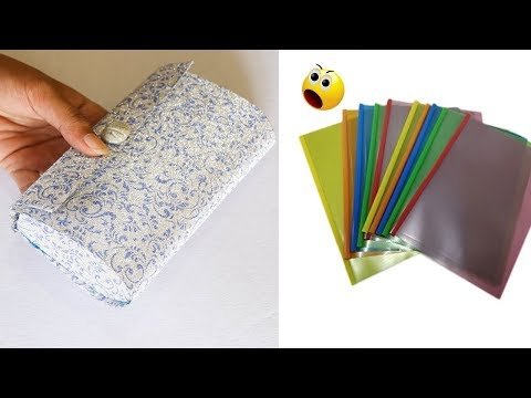 DIY PURSE USING PLASTIC PAPER FOLDER   DOCUMENT FOLDER CRAFTS  