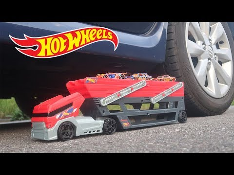 EXPERIMENT: CAR VS HOT WHEELS MEGA HAULER TRUCK AND TOY CARS