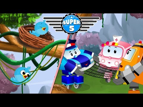 Little Bird is Trapped Baby car calls Super5 Squad Rescue team for Help | Kids Cartoon Ep-04