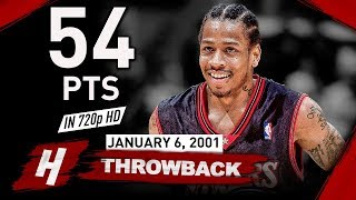 Allen Iverson NASTY Full Highlights vs Cavaliers 2001.01.06 - 54 Points, CRAZY Shooting! HD