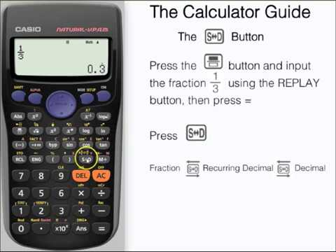 Change between fractions, decimals & surds (radicals) using SD button (Casio calculator, fx-83GT)