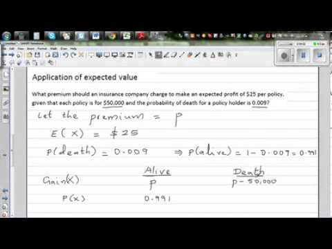 Application of expected value in calculating premium of life insurance policies