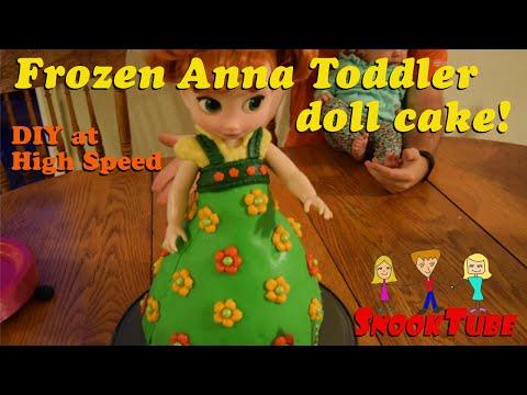 DIY Homemade toddler Anna doll Frozen cake! High Speed