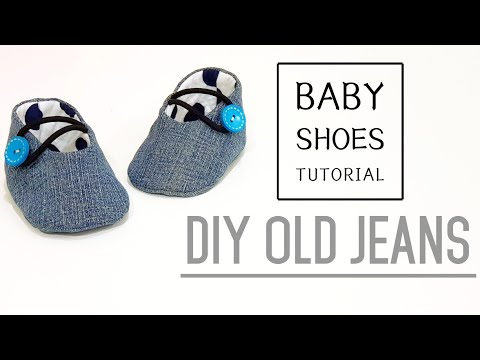 Diy old jeans | Baby Shoes Tutorial | FREE TEMPLATE DOWNLOAD | 牛仔婴儿鞋制作方法❤❤