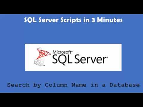 SQL Server Search by Column Name in a Database