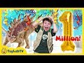 Giant 1 Million Subscribers Celebration amp Toy Hunt For Dinosaur Surprise Toys From ToyLabTV