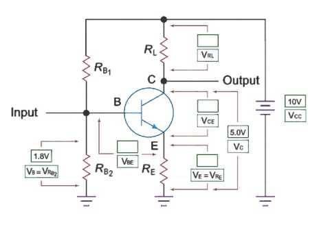 Transistor Amplifier Depicting Series of Voltage Across Resistors