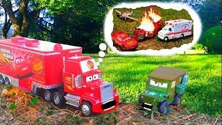 Mack Hauler Tells Sarge Story of Disney Pixar Cars Lightning McQueen & Mater Rescue Huge Crash Fire!