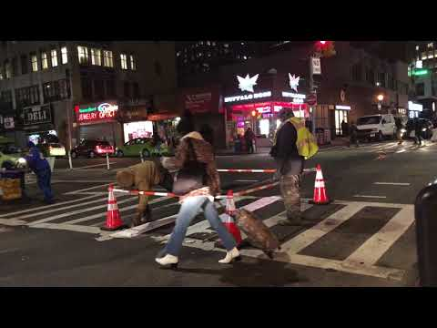painting pedestrian crossing, Brooklyn, New York (2-9-18)