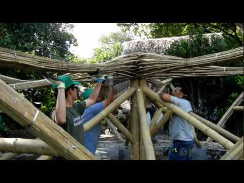 On site assembly of bamboo shade structure