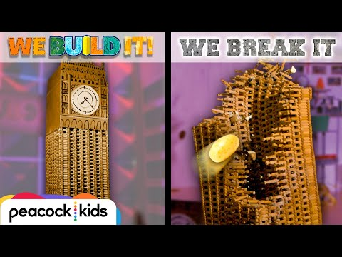 Lincoln Log Big Ben vs. Potato Launcher | WE BUILD IT WE BREAK IT