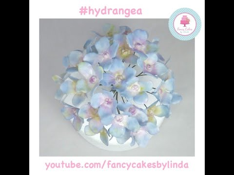 How to make Wired Hydrangea Sugar Flowers with Flower Paste/Gumpaste Tutorial Fancy Cakes by Linda