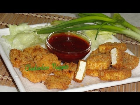 Crispy Chickenless (Tofu) Nuggets Video Recipe by Bhavna - Baked & Fried
