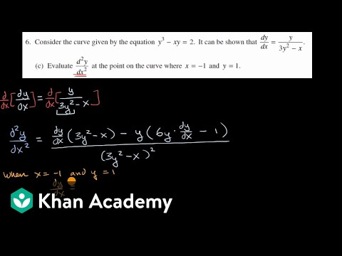 Second derivative at a point using implicit differentiation