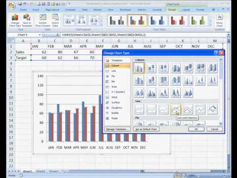 Create a Column Chart with Target Markers