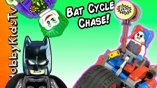 BATMAN + HARLEY QUINN! Gotham City Motorcycle Lego Build HobbyKidsTV
