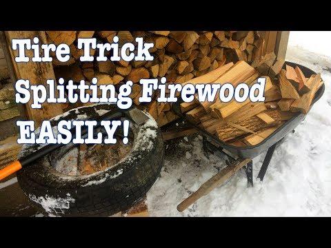 Tire Trick: Splitting Firewood Made Easy!