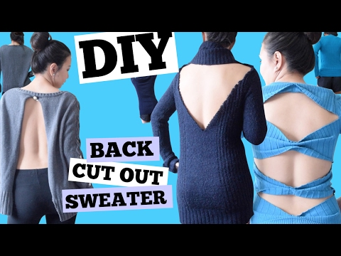 DIY BACK CUT OUT SWEATER/Backless Sweater/Bow Back Sweater/Open Back Sweater/NO SEW/PART2
