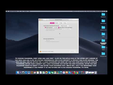HOW TO CHANGE LOGIN PASSWORD IN SECURITY AND PRIVACY IN MAC OS MOJAVE