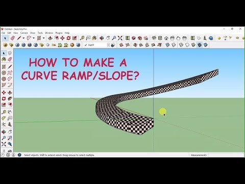 Sketchup tutorial - How to make a curve ramp/slope? (without any plugin)