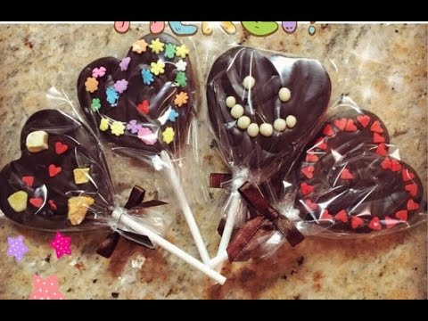 How to Make Heart Shaped Chocolate Lollipop for Valentine's Day 情人節心形巧克力