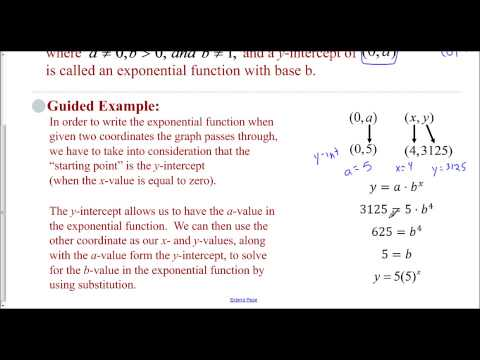 Lesson 8.2 - Exponential Functions from Two Given Points (Guided Example)