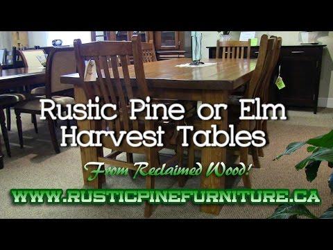 Rustic Elm Mennonite Harvest Tables from reclaimed wood, Mennonite Furniture Queensville Ontario.