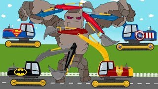 Excavators Superheroes VS Stone Giant | Complication Kids Video | Toy Factory For Kids Full HD
