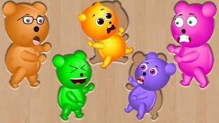 Mega Gummy Bear Puzzles Funny Finger Family & Learn Colors