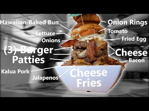 Giant Cheeseburger & Cheese Fries Challenge!