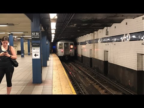 NYC Subway HD 60fps: R68 D Local Train @ 42nd Street - Port Authority Bus Terminal (7/23/17)