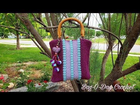 How To Crochet Purple Velvet Handbag Purse Felt Crochet TUTORIAL #486