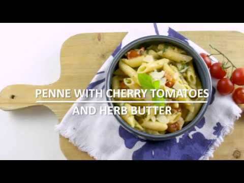 Penne with cherry tomatoes and herb butter