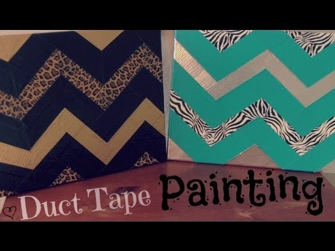 DIY DUCT TAPE PAINTING : Zig Zag & Chevron - How To | SoCraftastic
