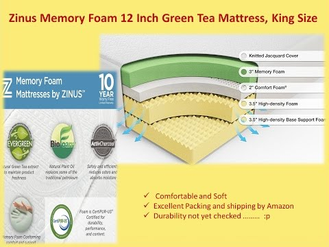 Review-Zinus memory foam 12 inch green tea mattress