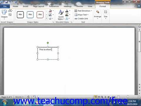 Word 2010 Tutorial Inserting Text Boxes Microsoft Training Lesson 13.4