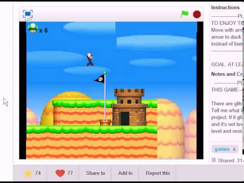 New Super Mario Bros. my game tutorial on scratch UPDATED!!!